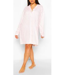 plus roze gestreepte jersey nachtjapon, roze
