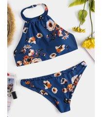 dark blue backless design floral print choker neck bikini
