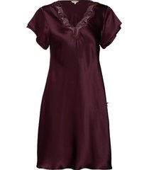 pure silk - nightgown w.lace, short nachthemd negligé paars lady avenue