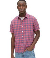 camisa lino blend manga corta hombre rojo gap