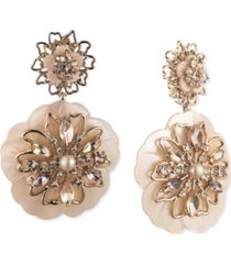marchesa gold-tone crystal & imitation pearl double flower drop earrings