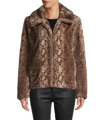 saks fifth avenue women's python-print faux fur jacket - eggplant - size xl