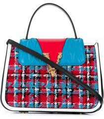 versace textured wool tote bag - blue