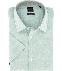 hugo boss korte mouw overhemd linnen groen