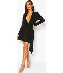 losvallende gedrapeerde mini jurk, zwart