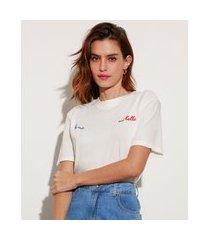 """t-shirt de algodão com bordado la vie est belle"""" manga curta decote redondo mindset off white"""""""