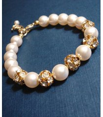 gold rhinestone swarovski pearl bridal wedding bracelet - gift under 30 - girl