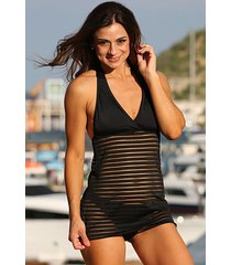 black sheer stripes swim dress swimsuit -sizes: s, m, l, ll,1x,x2