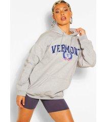 extreme oversized hoodie met vermont-slogan, grijs gemêleerd