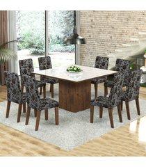 mesa de jantar 8 lugares dara venus dover/cobre/branco - viero móveis
