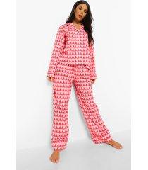 jersey hartjes pyjama set, hot pink