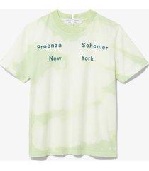 proenza schouler white label tie dye ps ny short sleeve t-shirt pistachio/ wht marble t/dye/yellow m