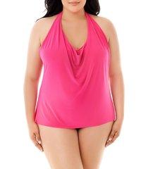 plus size women's magicsuit sophie underwire tankini top, size 24w - pink