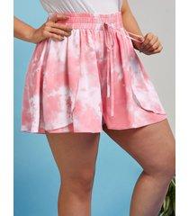 plus size tie dye overlay palazzo shorts