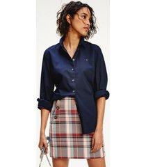 camisa en algodón de corte regular azul tommy hilfiger