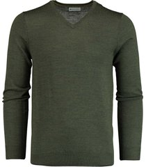 bos bright blue cas v-neck pullover flat knit 19305ca21bo/347 army green