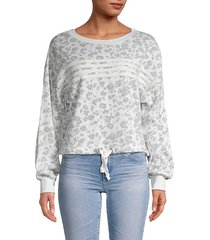 leopard printed tie-front cotton-blend sweatshirt