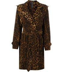 norma kamali leopard-print belted coat - brown