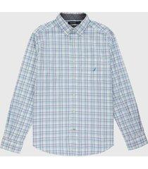 camisa blanco-azul-rosado nautica