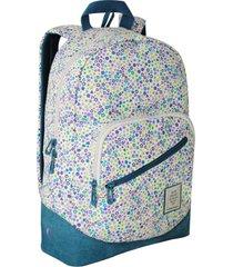 mochila nativa blanca puntos flores morado head