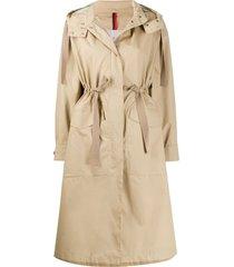 moncler drawstring-waist hooded coat - neutrals