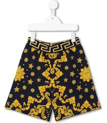 young versace barocco print casual shorts - blue