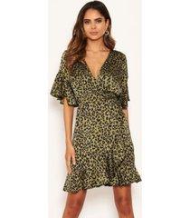 ax paris women's leopard print full wrap mini dress