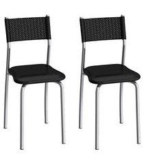 conjunto de cadeiras aço carbono compoarte mônaco 2 peças c142