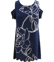 robbie bee printed cold-shoulder sheath dress