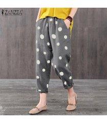 zanzea elástico de las mujeres de la cintura midi pantalones ocasionales de los lunares flojo holgado pantalón plus -gris