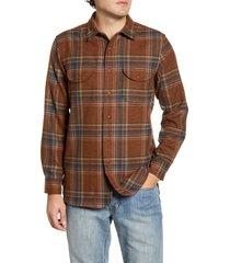 men's pendleton buckley plaid button-up wool flannel shirt