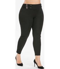 plus size high rise buckle punk leggings