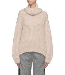 cowl neck wool rib knit sweater