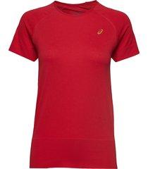 seamless ss texture t-shirts & tops short-sleeved röd asics