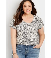 maurices plus size womens 24/7 snakeskin bubble sleeve tee beige
