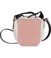 marni pink leather and white canvas crossbody bag