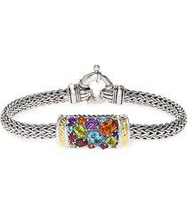 effy women's semi-precious, multi-stone sterling silver and 18k yellow gold barrel bracelet