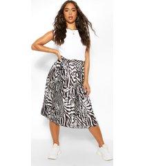 luchtige geplooide geweven zebraprint rok, zwart
