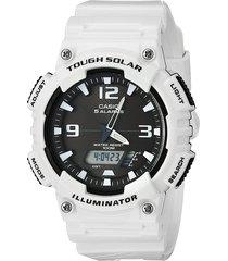 reloj casio hombre solar aq s810wc 7a hombre doble hora - blanco