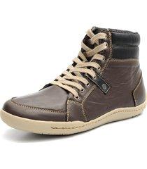 sapatênis shoes grand tamanho grande boston cano médio em couro café