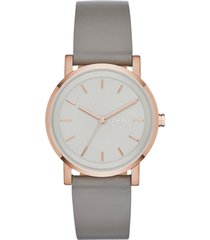 dkny women's soho gray leather strap watch 34mm, created for macy's