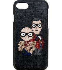 dolce & gabbana designer's patch iphone 7 case - black
