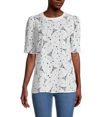 karl lagerfeld paris women's printed puffed-sleeve top - white - size s