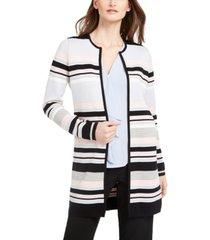 calvin klein petite striped open-front cardigan