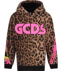 gcds mini beige sweatshirt for girl with logo