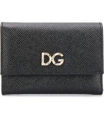 dolce & gabbana crystal embellished continental wallet - black
