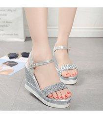 moda rhinestone cuñas sandalias para mujeres sandalias de tacón alto
