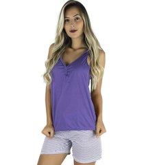 pijama mvb modas adulto feminino blusa e short com laço roxo