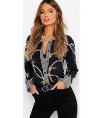 contrasterende geo- en kettingprint blouse, zwart