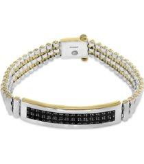 effy men's black sapphire bracelet (4-1/5 ct. t.w.) in sterling silver and 18k gold-plate